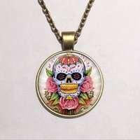 american gothic picture - 2015 Vintage Floating Locket Bronze Chain Statement Necklace Art Picture Sugar Skull Glass Cabochon Gothic Necklaces Pendants