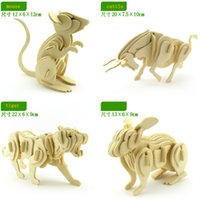 Wholesale The simulation model of D assembled wooden puzzle DIY for students children s educational toys animal D wooden puzzle toy