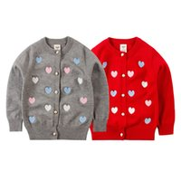 Wholesale New Girl Sweaters winter autumn brand girl love Heart child sweater children outerwear Knitwear Cardigan kids girl clothing