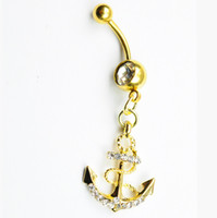 anchor gold ring - clear with gold plated color Nice belly ring nice anchor style belly ring with piercing body jewlery navel belly ring body jewelry