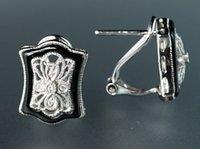 art deco diamond earrings - 14K White Gold Diamond Onyx Filigree Art Deco Floral Quaterfoil Earrings VIDEO