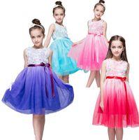 Wholesale 2017 princess dresses for kids girls Flower sleeveless dress shinny dance dress red pink purple blue top quality
