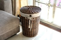Wholesale The dirty clothes Pure manual basket rattan lid storage box large storage basket dirty clothes basket cotton lining