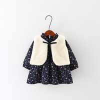 Wholesale 2016 autumn and winter Han edition Girls princess dress Not velvet dress Pure cotton flower warm velvet