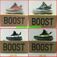 Wholesale Newest Kids Kanye West Season SPLY Boost V2 Grey Orange Casual Shoes Baby Girls Anti skid Shoes Baby Boys Casual Shoes