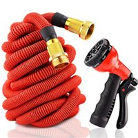 Hoses & Hose Reels latex  Expandable Flexible Garden Watering Hose 25FT 50FT Metal Connector with Spray Washing Car Pet Pipe 75FT 100FT EU US Version Hoses