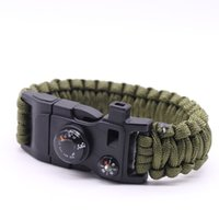 Wholesale 2016 new paracord survival bracelet with compass mini knife fire starter fishing accessories with bracelet
