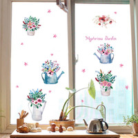 Murals PVC Plant Potted Flowers Colorful Bonsai Wall Stickers Cabinet Window Glass Kitchen Wall Border Decor Wallpaper Poster Mysterious Garden Wall Graphic