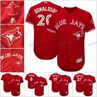 Baseball Unisex Short 2017 New Red Flexbase Stitched Toronto Blue Jays 20 Josh Donaldson 19 Bautista 2 Tulowitzki 11 Pillar 6 Stroman Red Jersey Mix Order