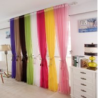 Wholesale Muti Color Home Door Window Solid Window Curtain Drape Pane Scarf Assorted Treatment Scarf Sheer Voile Room Divider Shade