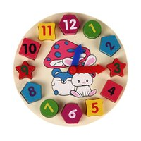 Venta al por mayor- Juguete del bebé Niños Educación de los niños Rompecabezas de madera Juguetes de madera Reloj digital Jigsaw Juguete Geometría Apilamiento Juguetes