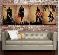 batman comic pictures - 4Panel Hand Painted Abstract Comics Heroes Art Oil Painting Batman Hulk Captain America Thor Wall Decor High Quality Canvas custom sizes