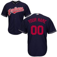 Wholesale Christmas Special Men s Indians New Baseball Custom Jersey Navy White Grey