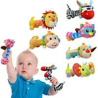 Wholesale Baby Sozzy Animals Rattles Plush Handbells Cartoon Animal Model Infant Baby Plush Toys Handbells Baby Cute Rattles Toys Hand Puppet F404