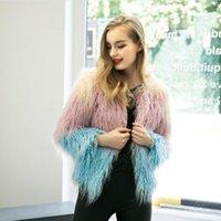 Wholesale 2016 New Autumn Winter Women Faux Fur Coat Gradual Color Fashion Slim Fur Jackets Manteau Fourrure Femme Female Fur Outwear FS0953