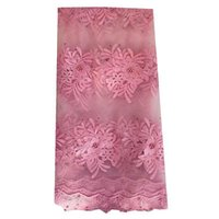 Wholesale Top Quality New African French Net Lace Flower Embroidery Design Pink Lace Materials Nigeria Wedding Lace For Wedding