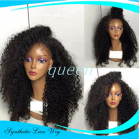 Wholesale high Quality heat resistant fiber Afro curl kinky curly Synthetic lace front wig for Black Women