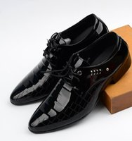 Wholesale Men s Dress Leather Shoe Pointed toe Lace up Mens Handmade PU Oxford Shoes for Men Business Derby Shoes Size