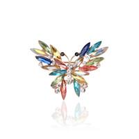 Joyería de la manera grande de cristal broche de mariposa de diamantes broche de corsé Broche de boda Violetta insecto Hijab Pin Up Broches