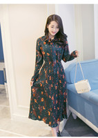 Casual Dresses blasting caps - In the spring of new women s Korean Floral Chiffon Dress pleated skirt dress with long sleeves temperament female blast wave model