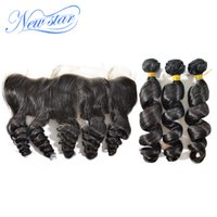 best human hair extensions brand - New Star Brand brazilian virgin hair apiral loose curl human hair extension lace frontal closure with bundles best deals