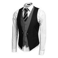 Wholesale US size Men s Waistcoat Causal Slim Sleeveless Formal Coat Business Suit Vest Wine Red Black Blue US size S XXL