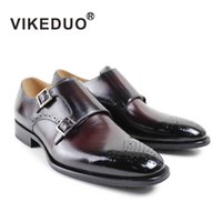 berluti men shoes - Vintage handmade shoes Mens monk shoes party luxury shoes Genuine leather buckle Hand painted shoes second to Berluti