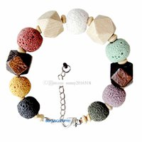 Wholesale New Brand Natural Stone Bracelet Men Lava Bead Charm Bracelet Volcano stone Wooden bead Beaded Bracelet for Women Gift Jewelry
