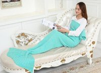 Wholesale 2016 Adult Handmade Mermaid Tail Blanket Crochet Mermaid Blankets Mermaid Tail Sleeping Bags Cocoon Mattress Knit Sofa Blankets