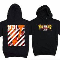 Wholesale Hot Men Thrasher Anti Social Pablo Hoodie S VLONE OFF WHITE Co brand Stripe offset print pullover fleece hoodies Hiphop Sport Sweatshirts