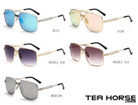 Wholesale Tea Horse fashion show popular beach sunglasses toad mirror high quality low cost sales of glasses multi ribbon sports hanging box