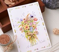 Wholesale Korean creative high end hand made three dimensional dry flowers greeting cards with envelopes business birthday blessing card