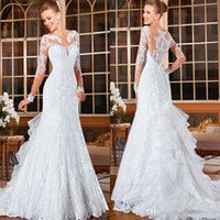 Wholesale vestido de noiva Long Sleeves Lace Mermaid Wedding Dress Court Train Bridal Gowns Plus Size Wedding Dresses Robe de soiree