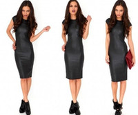 Wholesale Sexy Womens Bodycon Dresses PU Leather Pencil Pants Knee Length Short Sleeve Black Dress Back Clubwear Hip Maxi Casual Dresses For Women