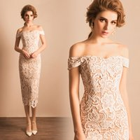 Wholesale Sexy Stocking Calf - 2017 In Stock Under $100 Party Dress Prom Dress Sheath Off Shoulder Ivory Lace Mid-calf Prom Dress Party Dress