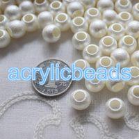 achat en gros de perles poney en plastique acrylique-10 * 12mm couleur blanche givré acrylique grande perles de trou mat opaque ronde poney en plastique perles 50pcs 100pcs