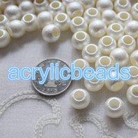 al por mayor cuentas de plástico acrílico-10 * 12mm de color blanco granos de acrílico de acrílico gran agujero mate opaco granos de plástico 50pcs 100pcs