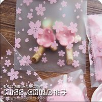 Wholesale Cookies Packaging Christmas - Wholesale-100pcs Pink Transparent Cherry Blossoms OPP Wedding Candy Bag Cookie Biscuits Cake Baking Bag Christmas Gift Packaging Bag BZ004