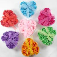 Wholesale Hot sale box Body Soap Romantic Bath Rose Petal Scented Flower Gift Party Wedding Favor