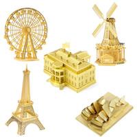 Wholesale 5pcs Small Size Metal Building Model Gold Color D Assemble Puzzles for kids and Adult