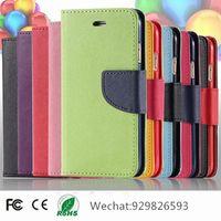 Mercury Portefeuille PU Flip Étui en cuir pour iPhone 5 5s 6 Plus 7 7plus Samsung Galaxy S2 S3 S4 S5 S5 Edge Note Mini 2 3 HTC LG SONY