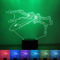 aircraft lamps - 3D Creative Colorful Aircraft Modeling Nightlight Button Type For Home Furnishing Bedroom USB LED Table Lamp rm