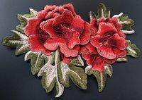 Precio de Cosiendo flores 3d-El remiendo de la hoja de la flor del bordado 3D púrpura roja cosen en el remiendo para los bolsos de tela que cosen el accesorio de la ropa de las nociones 5pcs / lot