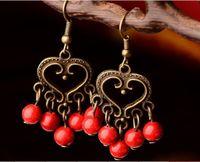 Wholesale China original retro folk style earrings heart shaped earrings Ladies Costume retro palace creative Earrings Hot saler