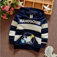 Wholesale Male and female baby autumn fashion new cotton striped hoodie free gift