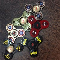 Wholesale Hot American Captain Superman Spiderman Skull Hand Spinner Fidget Spinner Naruto Adult Tri Spinner Fidget Decompression Toys WX T29