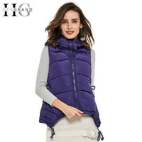 Wholesale HEE GRAND Long Vest Women New Fashion Winter Vests Ladies Hooded Solid Slim Coats Coletes Femininos Outerwear WWV182