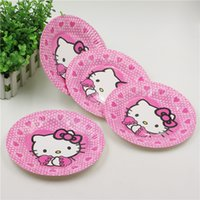 Wholesale pc Hello Kitty Decoration Paper Dishes Kids Favors Plates Cartoon Theme Happy Birthday Party Tableware Baby Shower Supplies