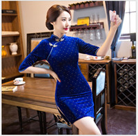 Wholesale Fashion Chinese Traditional Slim Velvet Cheongsam Dress Mid Sleeve Short Qipao Daily Casual Dress Plus Size