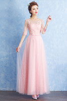 Reference Images A-Line Scoop Bridesmaid Dress 2017 Free Shipping New Summer Long Bride Wedding Bridesmaid Banquet Tuxedo Dress Female HY1565
